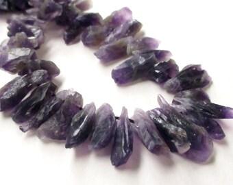 Amethyst Stick Point Beads - Dark Purple Rough Cut Nugget - 16-22mmx7mm - Top Drilled - Freeform Raw Stone - (16) Pcs - Jewelry Making