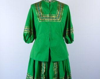 2-Piece Desert Flowers Originals Fiesta Dress, Green with Gold Trim, Made in Albuquerque New Mexico