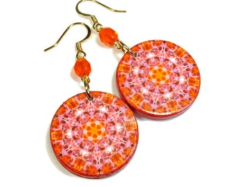 Colorful Earrings, New Age Jewelry, Orange Mandala Art,  Kaleidoscope, Fiery Colors, Chakra Earrings,  Dangle Earrings, SMALL