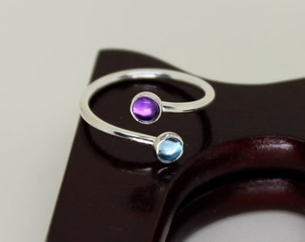 Amethyst & Blue Topaz Ring // Sterling Silver // Duality // Open Ended  // Stacker Ring // Stacking Ring // Gemstone Ring