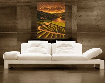 Tuscan Vineyard painting, Sunset painting, Landscape painting, artwork oil painting print