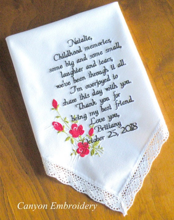 Wedding Gift For Bride From Best Friend : Wedding Gift, Best Friend, Embroidered Wedding Handkerchief, Red Roses ...