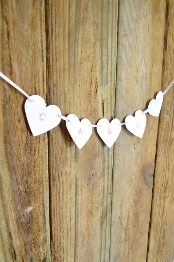 CARDS banner for your wedding, romantic hearts in customizable colors