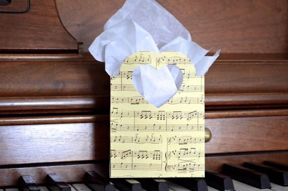 Music Heart Handled Gift Bags, vintage look