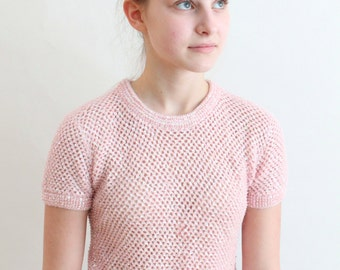 50s sweater - 1950s pink angora sequined sweater