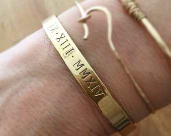 Roman Numeral Cuff Bracelet . Personalized Anniversary Gift . Hand Stamped Roman Numbers Cuff Bracelet . TB&CO