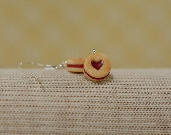Mini Linzer Cookie Jam Filled Cookie Earrings
