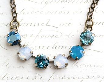 Blue Necklace, Swarovski Crystal Necklace, Crystal Necklace, Multicolored Necklace, Turquoise Necklace