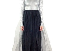 Women's Davina Long Sleeve Silver and Black Tulle Skirt Maxi Dress- Size Small