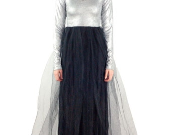 Women's Davina Long Sleeve Silver and Black Tulle Skirt Maxi Dress, Prom Dress, Silver Dress, Tulle Dress, Maxi Dresses- Size Small