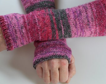 Knit Fingerless Gloves Pink Purple Silver Gray Handwarmers Fingerless Glove Mittens Long Knit Gloves
