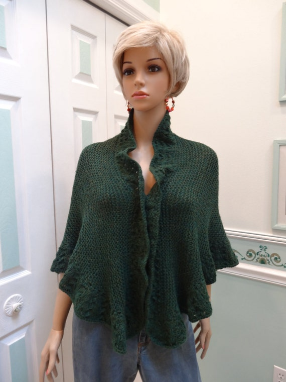 Knitting Pattern For Kate Middleton s Shawl : Princess Kate Middleton style Shawl forest green by UptownKnits