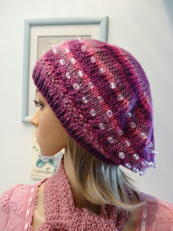 READY TO SHIP : Beaded,Pinks to purple, Tam/beret hat, variegated, hand beaded with crystals, hand  knitted,soft worsted weight yarn.