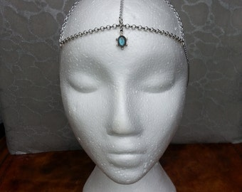 Head Chain - Hair Accessory  Head-dress -  Blue Green Labradorite Gem Stone in Sterling silver with Chains - Fits All  Bride, Bellydancer