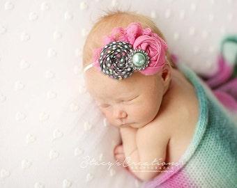 Borealis Beauty- grey pink and aqua polka dot and lace double rosette headband