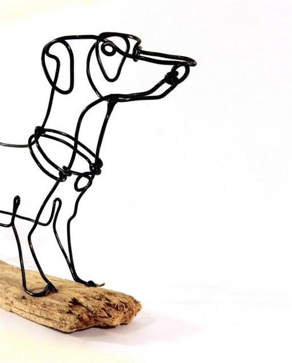 Weiner dog wire sculpture folk wire art dog for Dog wire art