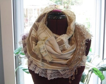 Upcycled Infinity Scarf, Lace Embellished Scarf, Artsy Bohemian Gypsy Scarf, Brown Striped Loop Scarf, Cottage Shabby Chic Cowl Neck