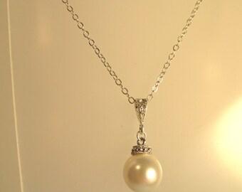 Swarovski Crystal Pearl Necklace, Pearl Necklace, Bride, Bridesmaid, Swarovski, Crystal, Pearl, Necklace, Sterling, Silver, Wedding Jewelry