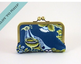 Turquoise Royal Garden Small Clutch Wallet   Frame Clutch   READY TO SHIP