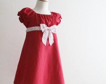 Girls Peasant Dress, Valentines Day, Red, White, Polkadot, peasant dress, girl dress - 12 ms, 2t, 3t, 4t, 5t, 6