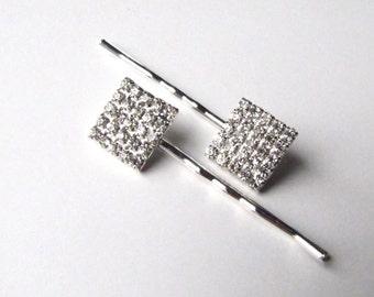 Square Rhinestone Wedding Bobby Pins, Geometric Crystal Hair Pins with Silver Tone