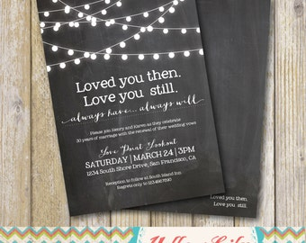 Wedding Vow Renewal Gift For Husband : Vow Renewal Invitation- Chalkboard / Vow Renewal / Marriage / Festoon ...