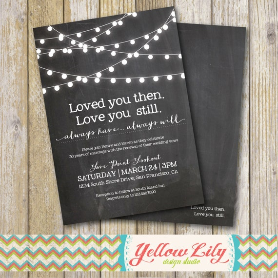 Wedding Vow Renewal Invitations: Vow Renewal Invitation Chalkboard / Vow Renewal / Marriage