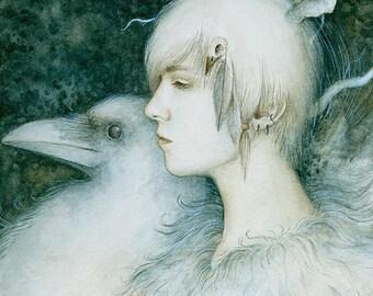White Crow A4 Print