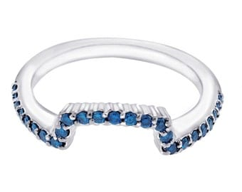 14K White Gold Wedding & Anniversary Blue Diamonds Curve  Band 0.28ct  Pave Set handmade