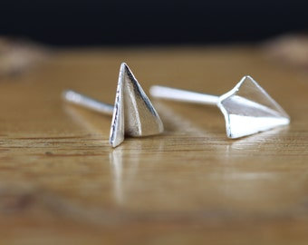 Folding Airplane Earrings - Paper Airplane Stud Earrings -  925 Sterling Silver Airplane Studs - Unique Gift Idea for Flight Attendant Pilot