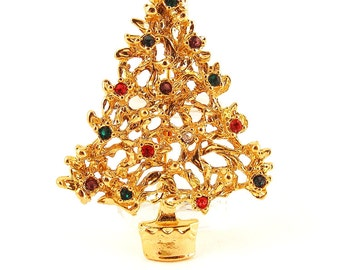 Vintage Christmas Tree Brooch Pin Rhinestone Multicolored