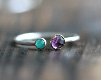 Dual Birthstone Ring, Double Gemstone Ring, Multistone Ring, Silver Stacking Ring: February Birthstone Ring- Amethyst Ring by PaleFish, R021