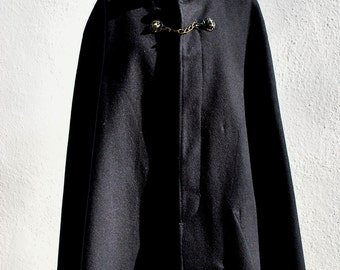 Vintage 40's CAPE military style cape wool knee lenght cape wrap sM WWII by thekaliman