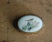 Vintage 1950s Chinese silver filigree bird brooch ∙ painted bone brooch