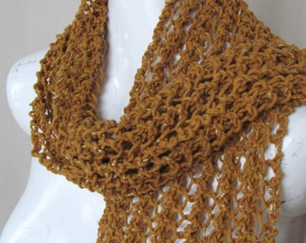 Mustard Colored Hand Knit Scarf with Gold Flecks