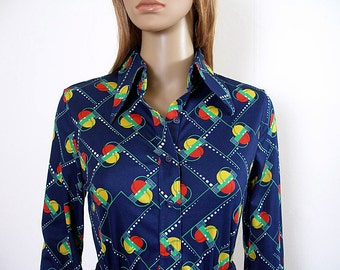 Vintage 1970s Blouse Bright Navy Blue Geometric Body Shirt / Small