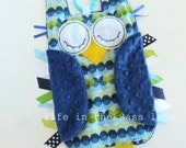 Blue and Green OWL Ribbon Tag Baby Blanket with Navy Blue Minky Blankie with Linking Teething Ring Lovey Lovie Boy Gift