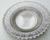 """Clear Glass Bread Serving Plate Prayer """"Give Us This Day Our Daily Bread"""" Home and Garden Kitchen and Dining Serveware Tableware Plates"""