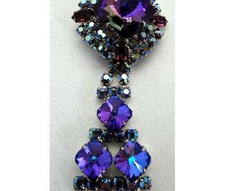 Dangle Pendant with Purple Aurora Borealis Rhinestones Brooch Apparel & Accessories Jewelry Vintage Jewelry Pendant Rhinestone