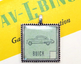 Buick Auto Car Bingo Pendant Necklace Vintage 1950s Image Key Ring