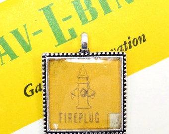 Fireplug Auto Car Bingo Pendant Necklace Vintage 1950s Fire Hydrant Image Key Ring