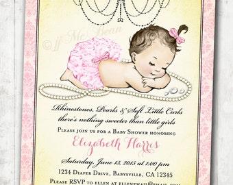 Girl Baby Shower Invitation Vintage Baby Shower Invitation For Girl - Rhinestones and Pearls Shabby Chic - DIY Printable