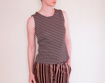 Vintage 60's women's sleeveless top, striped pattern in black, orange & white - Medium