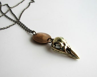 bird skull necklace . raven & lucky penny on long chain . mens jewelry . mens necklaces . wheat penny jewelry