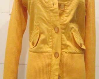 Vintage Button Down Sweater.  Yellow Sweater.