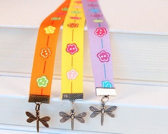 Ribbon Bookmark - Bright Floral Ribbon, Dragonfly Charms, Custom Colors