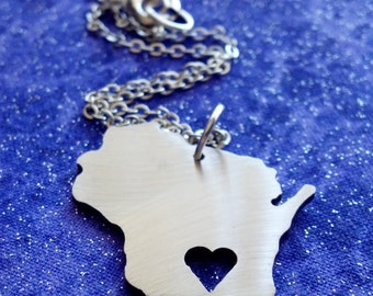 I Heart Wisconsin - Necklace Pendant or Keychain