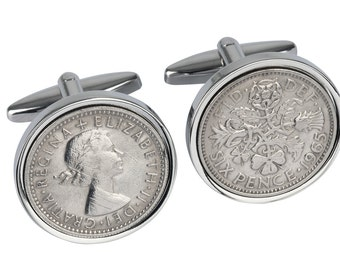 52nd Birthday Present - 1965 Old English sixpence - Genuine coins from England - Cufflinks for Men - 3 day delivery option