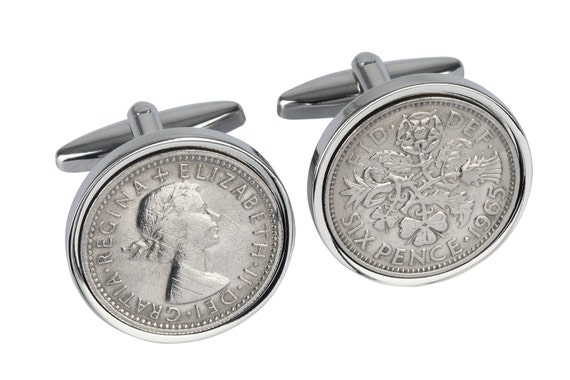 52nd Birthday Present - 1965 Old English sixpence- Genuine coins from England-Cufflinks for Men