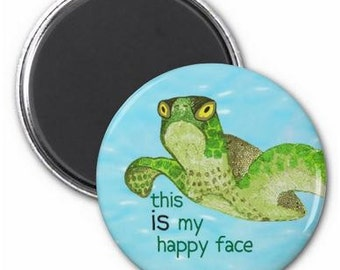 Happy Face Sea Turtle Magnet or Button -G11
